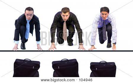 Geschäftsleute Racing für Aktentaschen