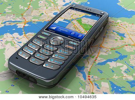 Teléfono móvil con GPS de navegación en el mapa