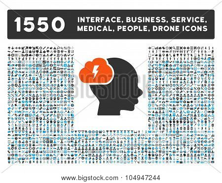 Brainstorm Icon and More Interface, Business, Medical, People, Awards Glyph Symbols