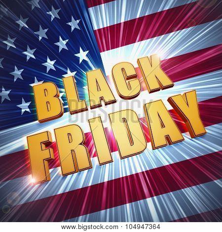 Black Friday In Golden Letters Over Usa Flag