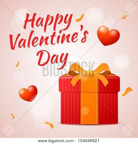 Red Gift On Valentine's Day, Happy Valentine's Day Inscription