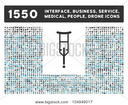 Crutch Icon and More Interface, Business, Medical, People, Awards Glyph Symbols