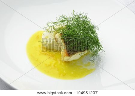 Escalope Of Sea Bass With Fennel Puree In Citrus Sauce