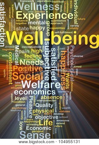 Background concept wordcloud illustration of well-being glowing light