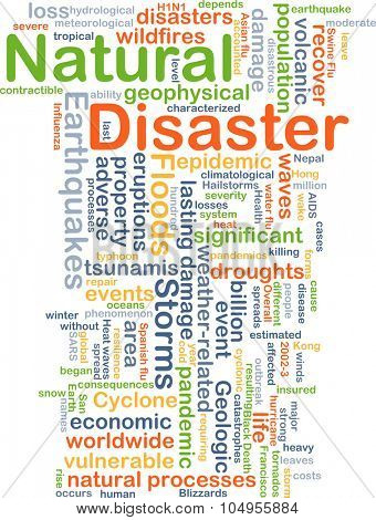 Background concept wordcloud illustration of natural disaster