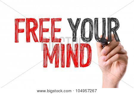 Hand with marker writing: Free Your Mind