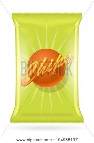 Vector potato chips bag, isolated on transparent background, eps10