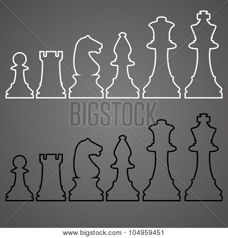 Set of Sketch Chess Figures