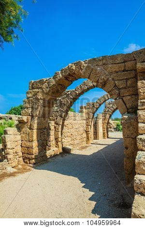 National park Caesarea on the Mediterranean Sea. Arch overlappings of malls of antique times. Israel