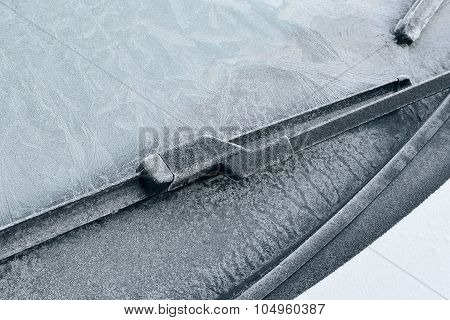 Winter Driving - Ice Covered Windshield