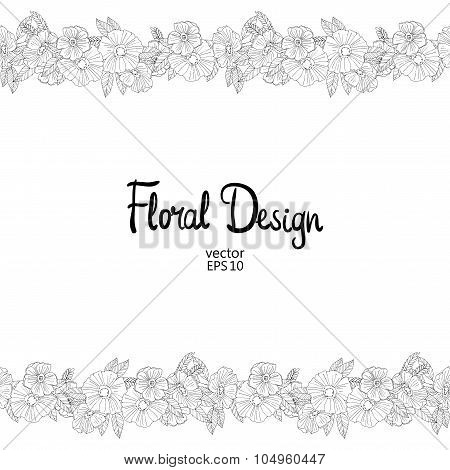 Floral border made with  sketchy flowers
