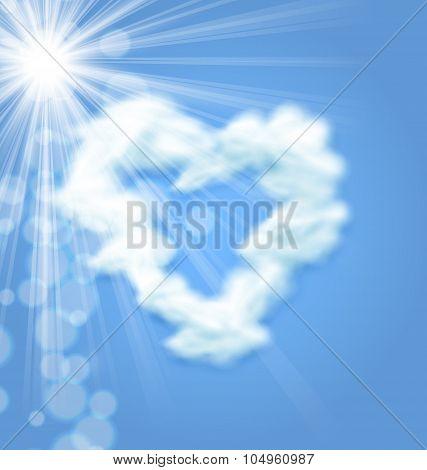 Sun Fluffy Cloud Shape Heart Love Symbol