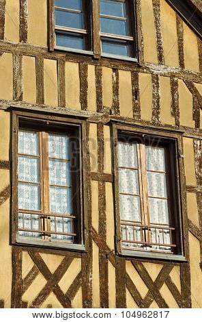 Windows in half-timbered house