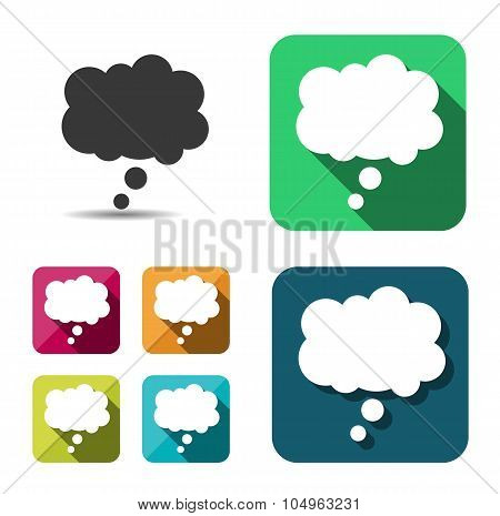 Comic speech bubble sign icon. Chat think symbol. Flat button with shadow. website navigation. Vecto