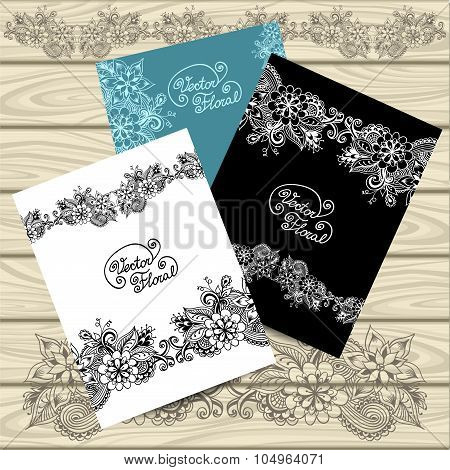 Set templates of  frames with doodle floral elements