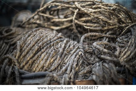 Ship Ropes Heap. Pile Of Various Ropes And Strings. Closeup Of Cordage. Background Nautical Texture