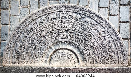 Ground Relief of Seema Malaka temple on Beira Lake. Colombo, Sri Lanka