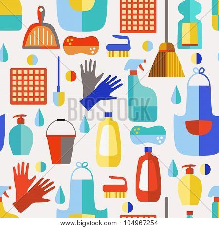 Cleaning products seamless pattern.