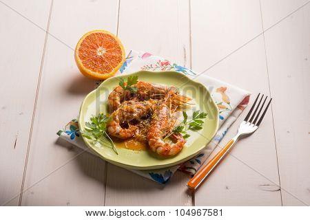 shrimp with orange and lemon sauce