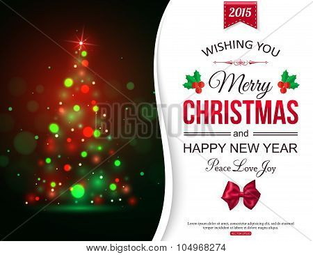 Christmas shining typographical background with xmas tree lights and place for text.