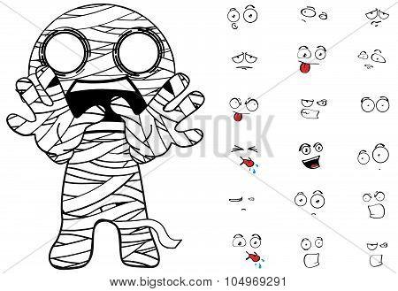 scarry mummy cartoon emotions set