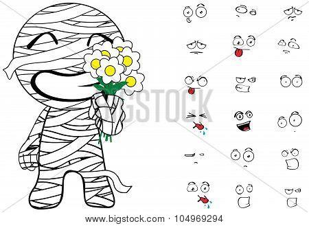flowers mummy cartoon emotions set