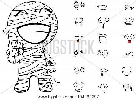 happy mummy cartoon emotions set