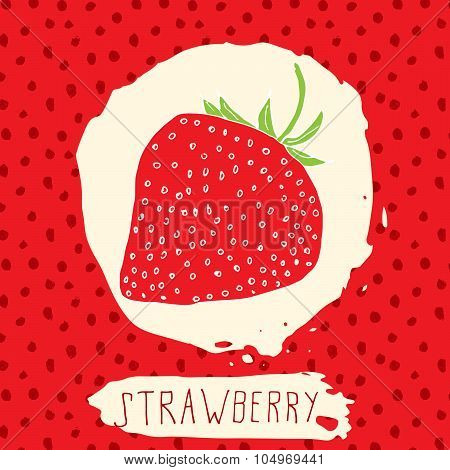 Strawberry Hand Drawn Sketched Fruit With Leaf On Red Background With Dots Pattern. Doodle Vector St