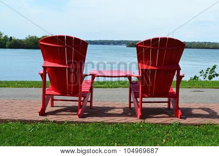 Red Aridondack chairs
