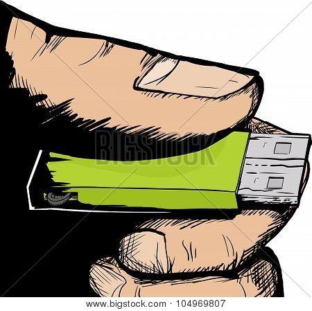Hand Holding Usb Thumbdrive