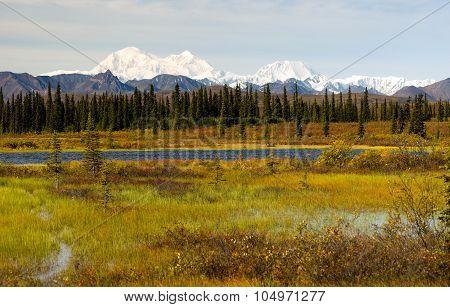 Denali Range Central Alaska Wilderness Area Mountain Lakes