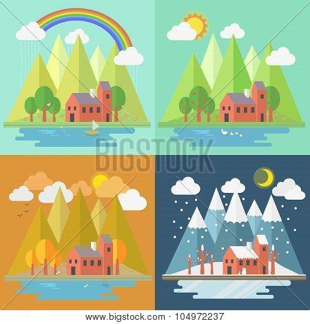 Lovely House Scenery Four Seasons