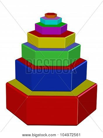 Hexagon colorful pyramid