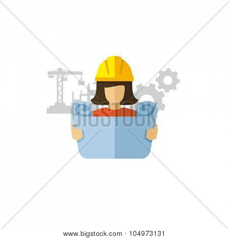 Woman Construction Engineer Reviewing Blueprint Vector icon