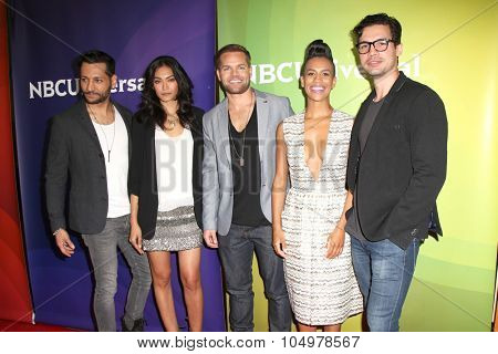 LOS ANGELES - AUG 12:  Cas Anwar, Florence Faivre, Wes Chatham, Dominique Tipper, Steven Strait at the NBC2015 TCA Summer Press Tour at the Beverly Hilton Hotel on August 12, 2015 in Beverly Hills, CA