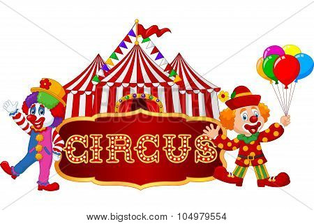 Circus tent with clown. isolated on white background