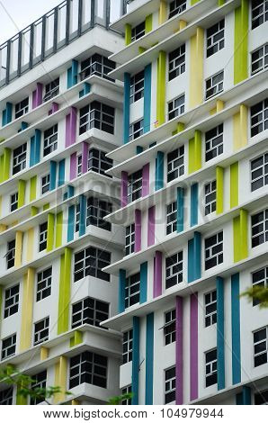Building façade design with pattern and colours
