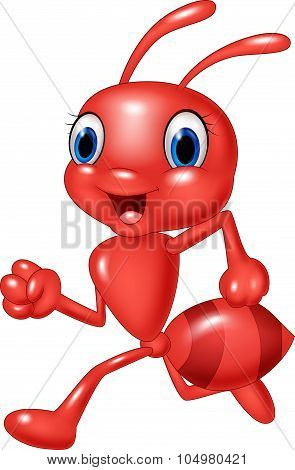 Cartoon happy red ant running isolated on white background