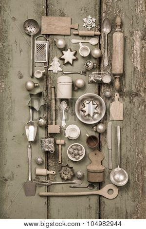 Old children toys of the kitchen. Vintage or country style with nostalgia decoration for Christmas.