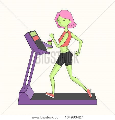 Girl run treadmill vivid color vector illustration