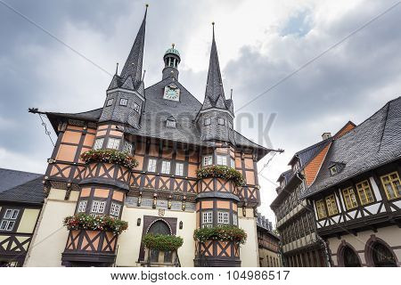 The historic townhall of Wernigerode, East Germany