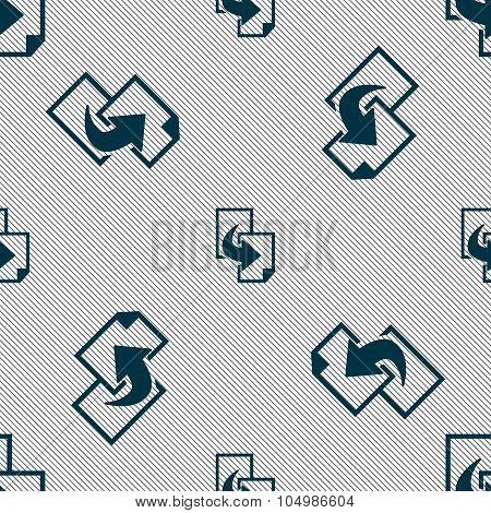 Copy File Sign Icon. Duplicate Document Symbol. Seamless Pattern With Geometric Texture. Vector