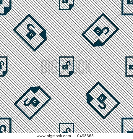 File Unlocked Icon Sign. Seamless Pattern With Geometric Texture. Vector