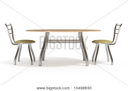 Table and Chairs, Isolated on White, With Clipping Path