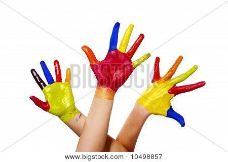 Tres manos pintadas con Clipping Path