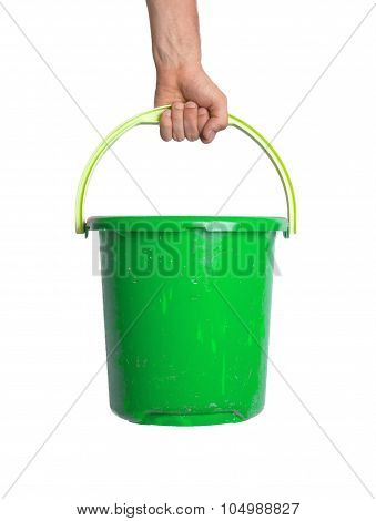 Human Hand Holding Empty Plastic Pail