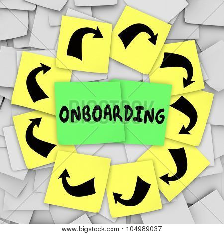 Onboarding word written on sticky note on bulletin board to illustrate introducing or welcoming new employee or hire to organization