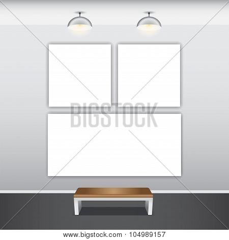 Mock up poster with ceiling lamps