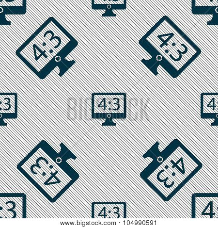Aspect Ratio 4 3 Widescreen Tv Icon Sign. Seamless Pattern With Geometric Texture. Vector
