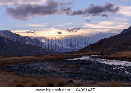 Mountains River Sky Sunset Autumn